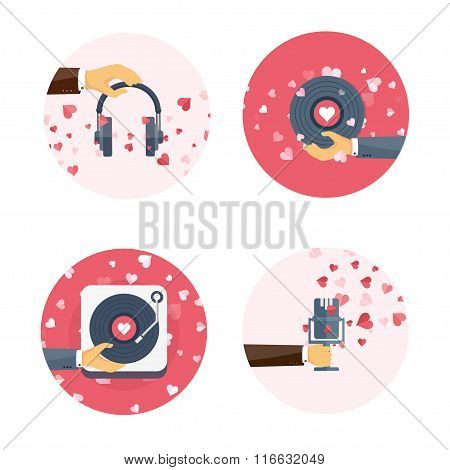 Vector illustration. Flat music background with microphone, hand, vinyl, headphones . Love, hearts.