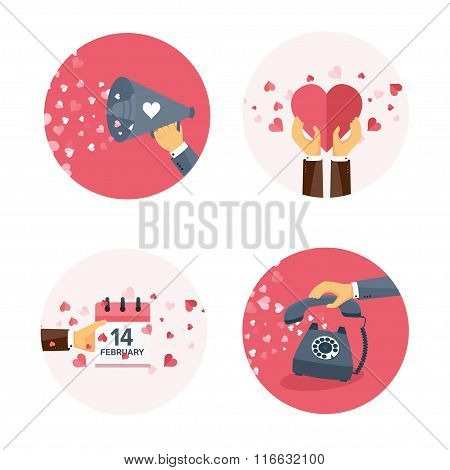 Vector illustration. Flat background with loudspeaker, calendar, telephone . Love, hearts. Valentine