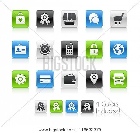 On-line Store Icons / The file Includes 4 color versions in different layers.