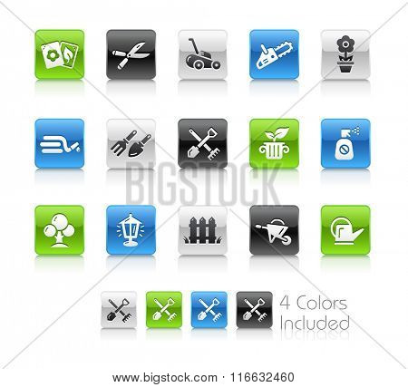 Garden and Gardening Icons / The file Includes 4 color versions in different layers.