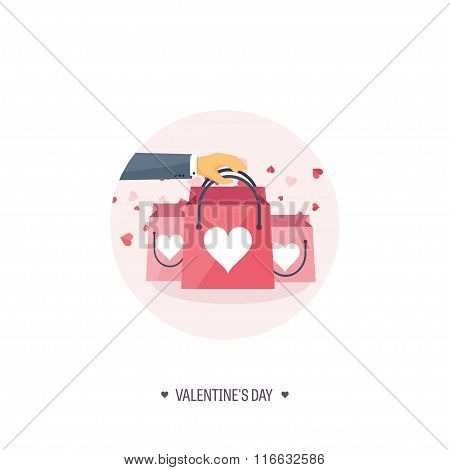 Vector illustration. Flat background with shopping bags. Love, hearts. Valentines day. Be my valenti