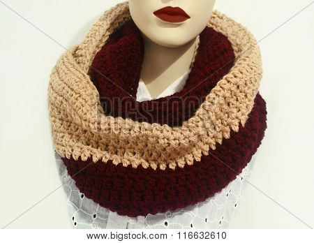 doll wearing crochet scarf - infinity scarf - wool scarf - fashion  clothing icon