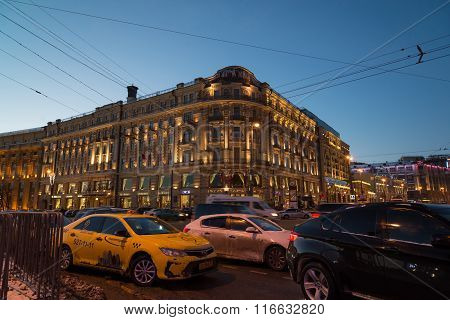 MOSCOW, RUSSIA - January 10.2016. Tourist bus on background of National Hotel