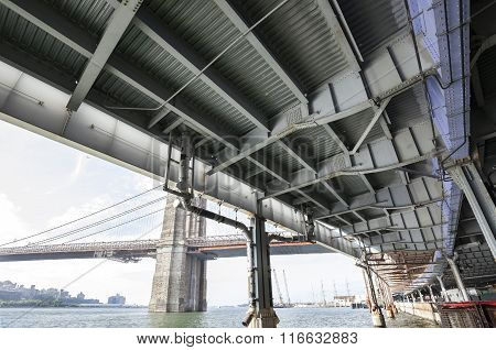 Overpass By Hudson River From Below, Transport Infrastructure In New York.