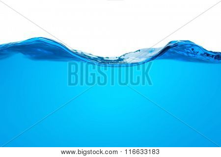 blue water wave isolated on white background