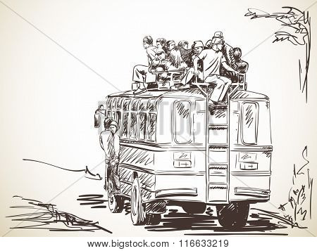 Overloaded bus with people travelling on top, Hand drawn illustration