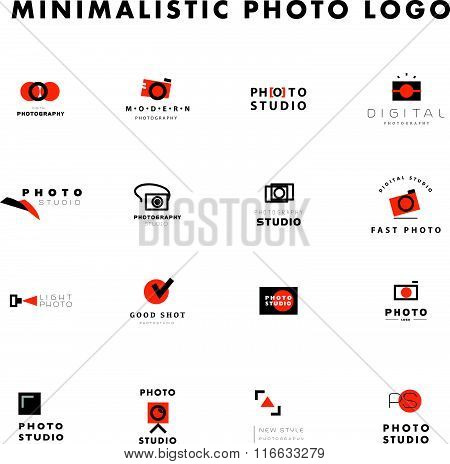 Vector set of flat modern photo logo