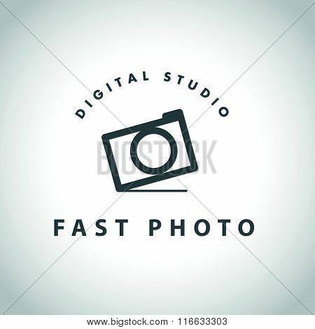 Vector template of flat modern photo logo.