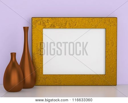 Two Ceramic Vases And Golden Frame For Picture