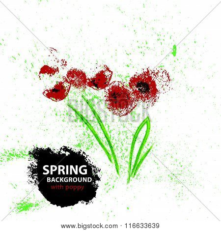 Vector background with hand drawn floral elements.
