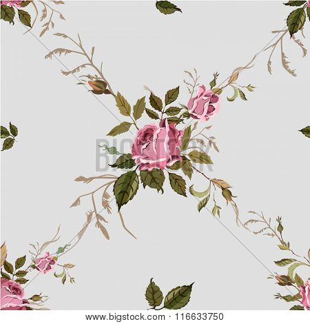 Vintage Seamless Shabby Chic pattern with roses