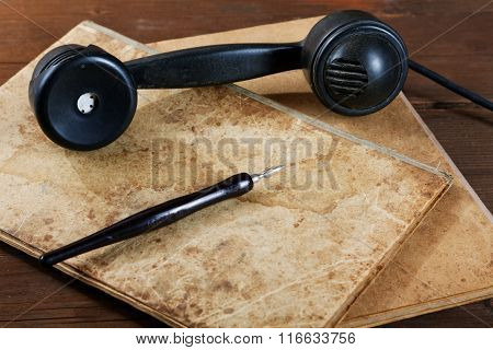 Still-life With Old Writing-books A Nib And Phone
