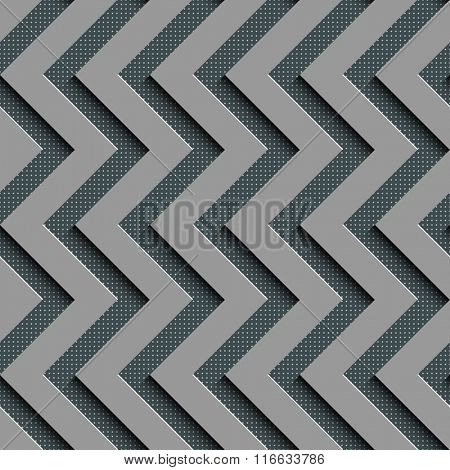 Seamless  Zigzag Pattern. Abstract Gray Background. Vector Regular Texture