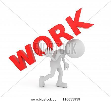 White 3D Human Carries Work Text