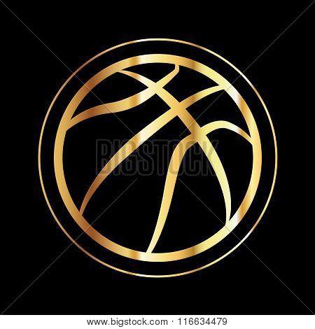 Golden Basketball Icon