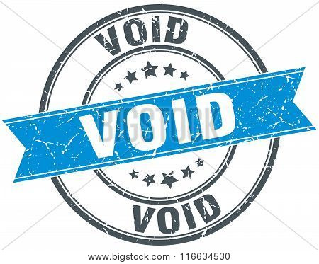 Void Blue Round Grunge Vintage Ribbon Stamp