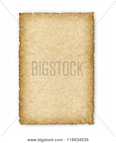 Old Yellowed Sheet Of Paper On A White Background.