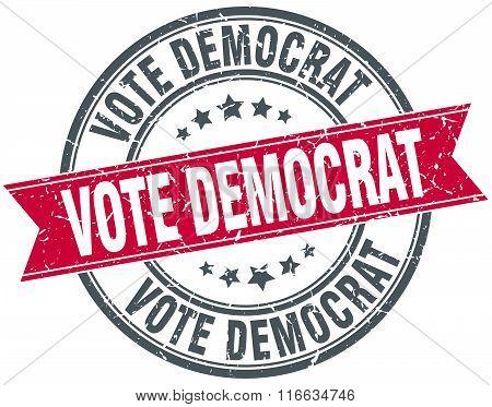 Vote Democrat Red Round Grunge Vintage Ribbon Stamp