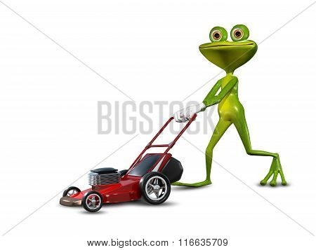Frog With A Lawn Mower