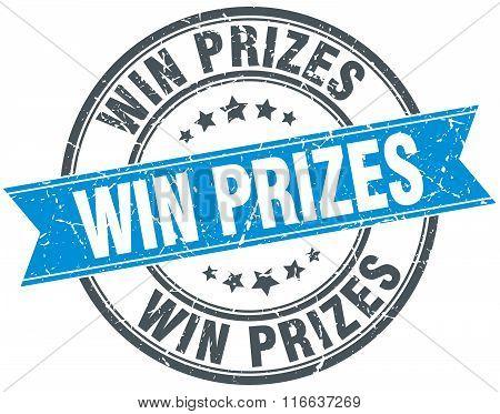 Win Prizes Blue Round Grunge Vintage Ribbon Stamp