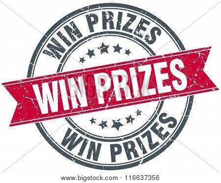 Win Prizes Red Round Grunge Vintage Ribbon Stamp