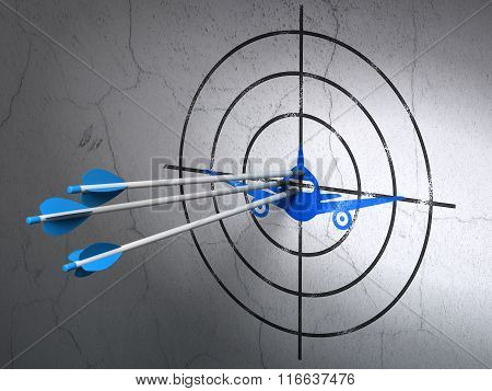 Travel concept: arrows in Aircraft target on wall background