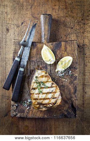 Barbecue Swordfish Steak on Cutting Board