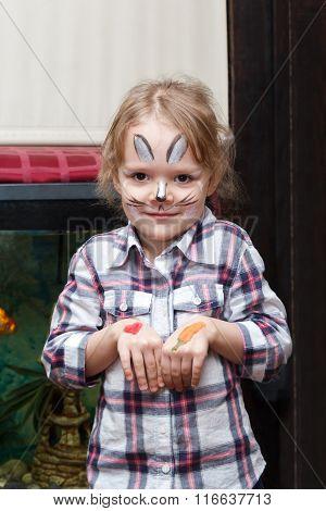 Girl With Rabbit Face Painting