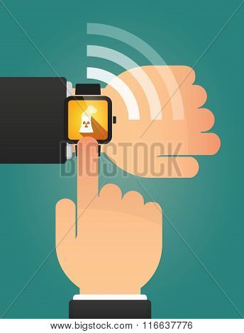 Hand Pointing A Smart Watch With A Nuclear Power Station