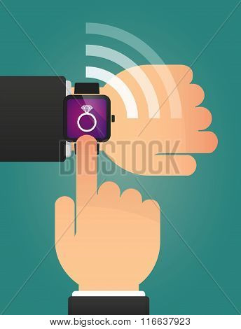 Hand Pointing A Smart Watch With An Engagement Ring
