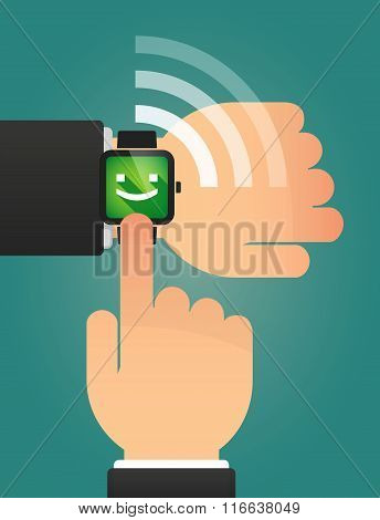 Hand Pointing A Smart Watch With A Smile Text Face
