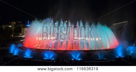 Night time in Barcelona, Spain at the magic fountain.