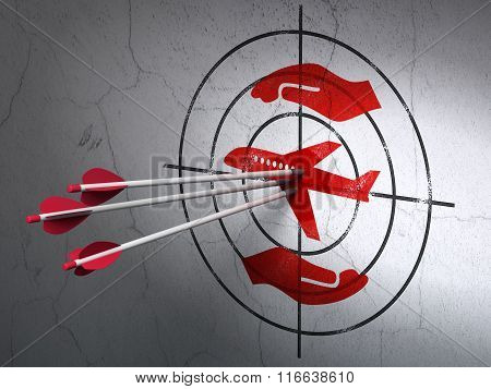 Insurance concept: arrows in Airplane And Palm target on wall background