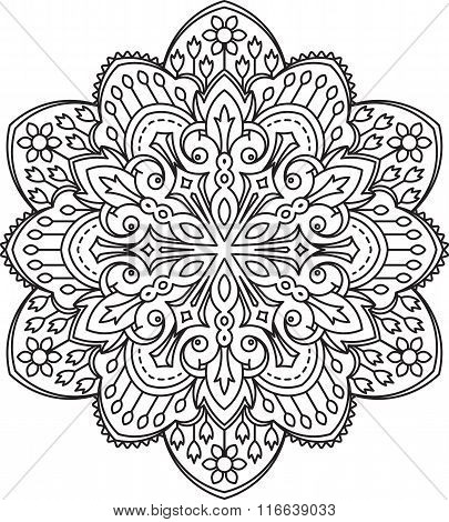 Abstract Vector Black Round Lace Design - Mandala, Ethnic Decorative Element. Can Be Used As Anti St