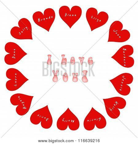 14 hearts with names of women on Valentine's Day