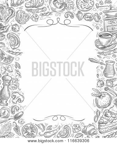 Menu. Vector sketches drawn food and drinks on white background