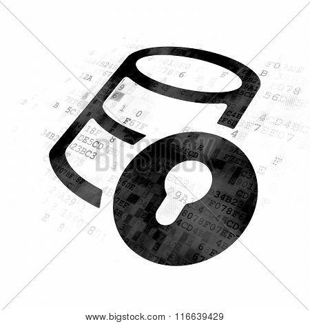 Database concept: Database With Lock on Digital background