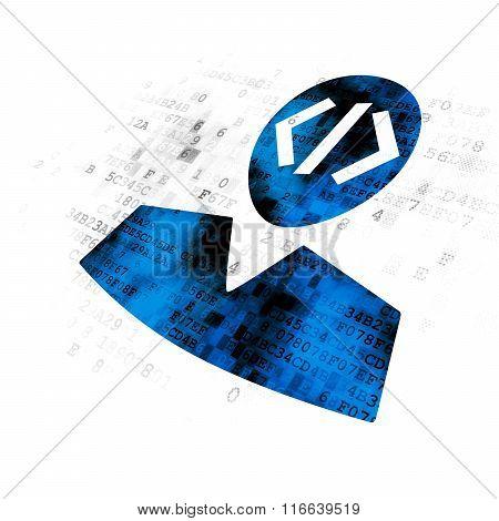 Database concept: Programmer on Digital background