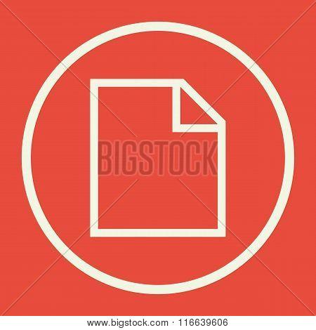 File Icon, On Red Background, White Circle Border, White Outline