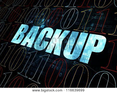 Database concept: Backup on Digital background