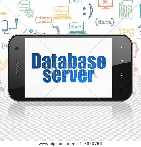 Software concept: Smartphone with Database Server on display