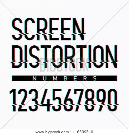Screen distortion alphabet numbers. Vector.