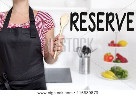 Reserve Cook Holding Wooden Spoon Background Concept