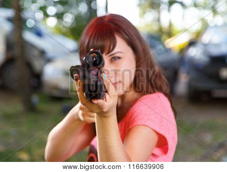 Cool Girl Aiming From Telescopic Rifle, Focus On Sight