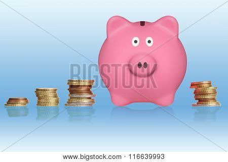 Euro Coins And Piggy Bank