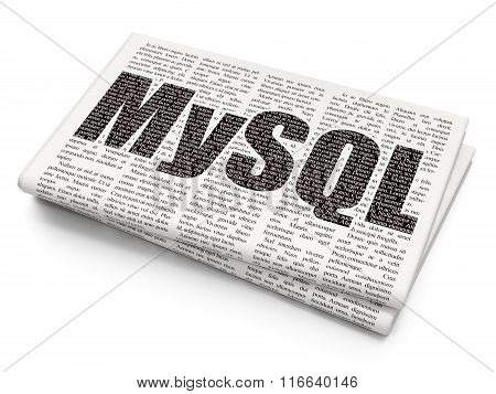 Database concept: MySQL on Newspaper background
