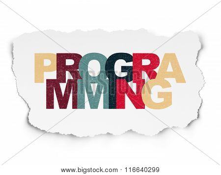 Programming concept: Programming on Torn Paper background