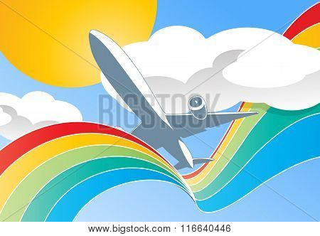 airplane in clouds vector illustration
