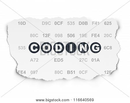 Programming concept: Coding on Torn Paper background