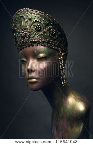 Bronze female statue